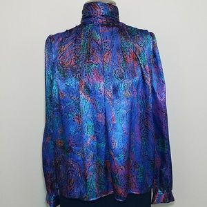 Vintage! Funky Blue Muli Colored Silky Turtleneck